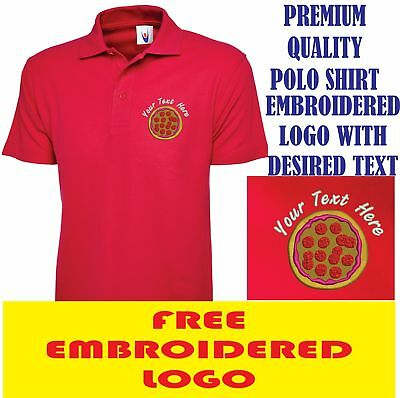 Embroidered Pizza Shop Logo Polo Shirt, Workwear Uniform Chicken Shop Top