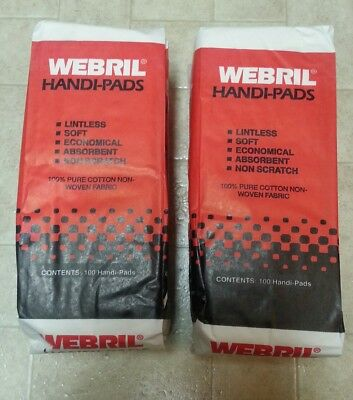 200 Webril Handi-pads - 2 x packages of 100 - NOS - Fast Free Shipping  handipad