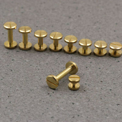 4-20mm Flat Belt Screw Leather Craft Chicago Nail Brass Solid Rivets Stud Head