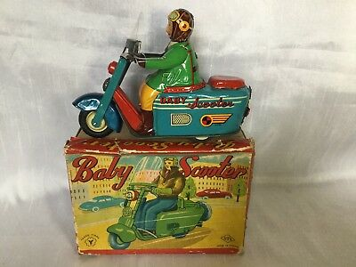 Yonezawa Baby Scooter Motorroller Blechspielzeug tin toy friction Japan Boxed
