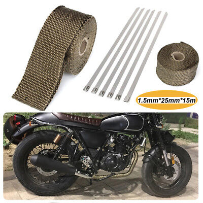 """Titanium Exhaust/Header Heat Wrap, 2"""" x 50' (15m) Roll With Stainless Ties Kit"""