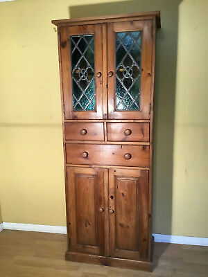 lovely victorian style pine kitchen -food cupboard with lead light doors
