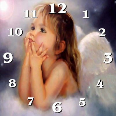 Personalised Metal Wall Clock - 19 or 28cm sq - Angel - Style 3