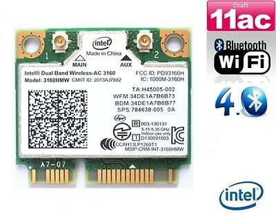 + NEU Intel Wireless-AC 3160 Dual Band 5Ghz 433Mbit/s WLAN+Bluetooth Mini PCIe +