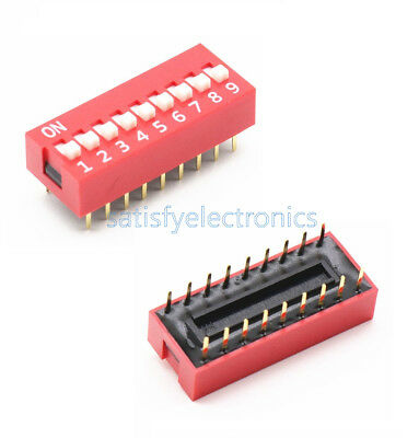 5 PCS Slide Type Switch Module 2.54mm 9-Bit 9 Position Way DIP Red Pitch new