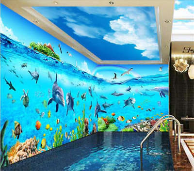 Dolphins And The World 3D Full Wall Mural Photo Wallpaper Print Home Kids Decor
