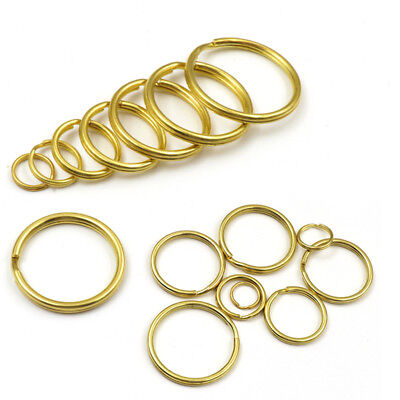 Solid Brass Keyring Split Key Rings Hoop Loop Keychain 12 15 20 25 28 30 32 35mm