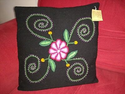 Ethnic Vintage Cushion Cover Embroided with naturally paintedwool 16x 16