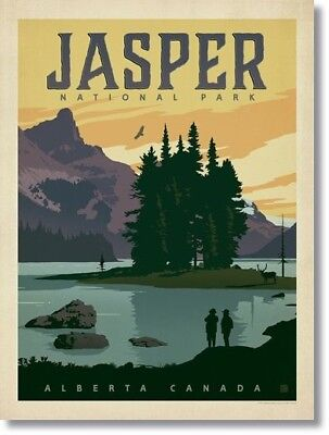 "Vintage Travel Poster JASPER ,CANADA Photo Fridge Magnet Size 2""x 3"""