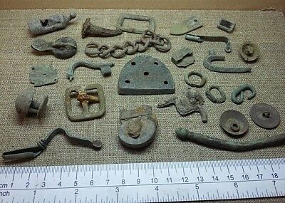 Lot of 25 Ancient Fragment Roman Viking Celtic Medieval Bronze Old Ornament #19