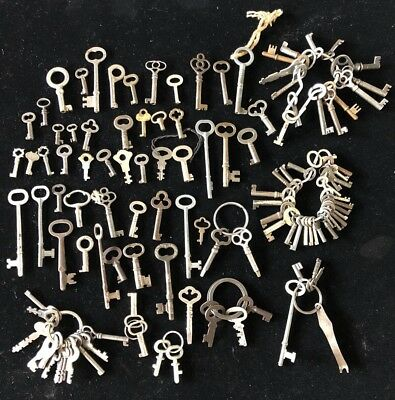 LOT OF 60+ Antique/Vintage CABINET, CLOCK, DOOR AND OLD LOCK KEYS