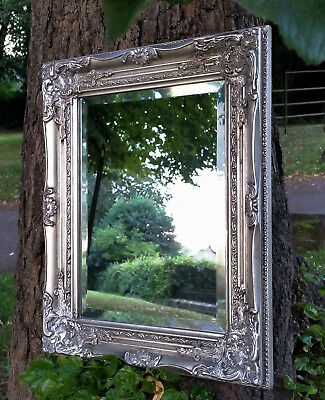 Lovably Ornate French Vintage Style Antique Silver Wall Mirror & Bevelled Glass