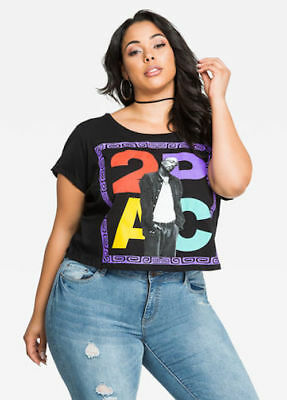 e37a77aa58ad5 Tupac 2pac Graphic Cropped Top Black Plus Size Women s Fashion Top 1X-3X NWT