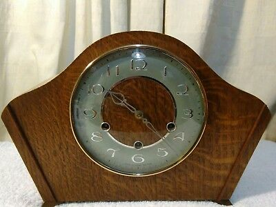 Fully working and serviced Smiths westminster chime art deco mantel clock