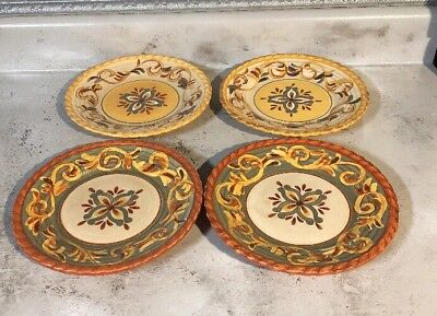 SET OF 4 Artimino Tuscan Countryside Sienna~4-9 1/2\  Plates & ARTIMINO TUSCAN Countryside Sienna Cream  Plain Yellow Square ...