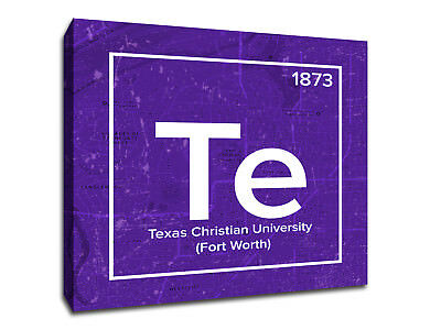 Texas Christian University Periodic Table Symbol Art - Gallery Wrapped Canvas
