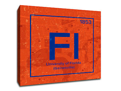 University of Florida Periodic Table Symbol Art - Gallery Wrapped Canvas