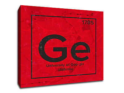 University of Georgia Periodic Table Symbol Art - Gallery Wrapped Canvas