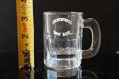 """VINTAGE 50s SILVERFROSS ROOT BEER ADVERTISING BABY MUG GLASS 3 1/4"""" NO RESERVE"""