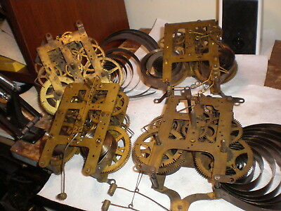 Lot of 4-Antique-American-8 Day-Mantle Clock Movements-Parts/Restore-#P20