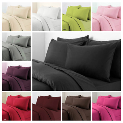 Plain Duvet Cover Pillowcase Set Dyed Quilt Cover Bedding Set Single Double King