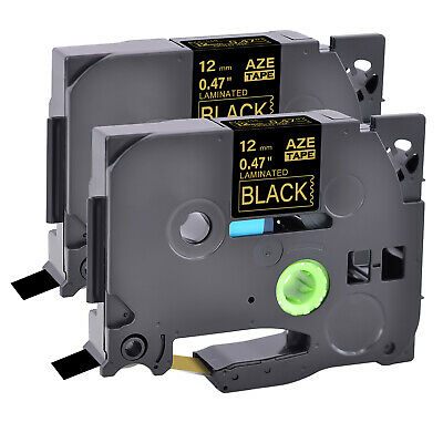 2 PK Gold on Black TZ334  TZe-334 TZe334 Label Tape For Brother P-Touch PT-1160