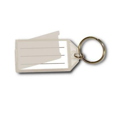 Open & Close Flap Plastic Key Tag - 10 Tags (Clear)
