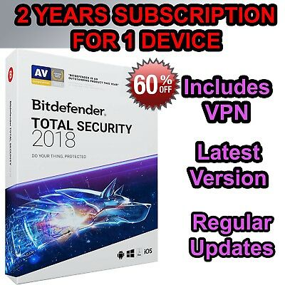 Bitdefender Total Security 2018 For 1 PC - 2 Year Subscription -Digital Download