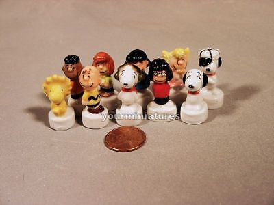 10 Charlie Brown Miniature French Porcelain Feves Snoopy Lucy Woodstock and More
