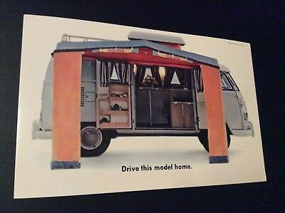 Original 1965 Volkswagen VW Camper Westfalia Advertising Postcard