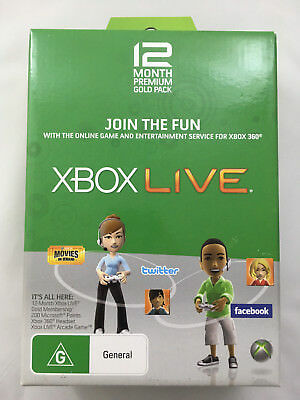 Xbox Live 12 Month Premium Gold Pack 200 Points 360 Headset Live Arcade Game NEW