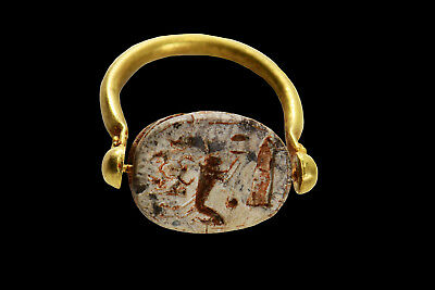 Aphrodite- Ancient Egyptian Scarab Gold Swivel Ring