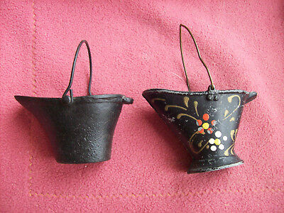 Lot of 2 Vintage Cast Iron Mini Coal Bucket/Hogs Very Collectible, 1 Is Painted