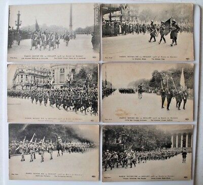 1918 World War I Collection Of 6 Unused Postcards Troops Marching Paris
