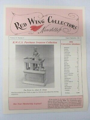 Red Wing Collectors Newsletter August September 1991 The Potter Albert H Olson
