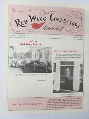 Red Wing Collectors Newsletter December 1991 Pottery Salesroom USA