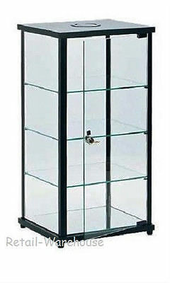 "Display Case Countertop Black Glass Retail Merchandise Jewelry 27"" x 12"" x 14"""