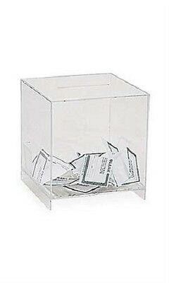 "Ballot Raffle Box Clear Acrylic Charity Giveaway Donation 9"" W x 9 ¾"" x 9"" D"