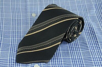 Hugo Boss Men's Tie Black Olive & Gold Striped Woven Silk Necktie 58 x 3.25 in.
