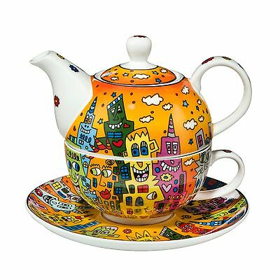 Rizzi: TEA FOR ONE, Teekanne + Tasse CITY SUNSET, Goebel, neu 1. Wahl 14% RABATT