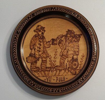 WOODEN CARVED YU-PULA Plate Wall Hanging Art