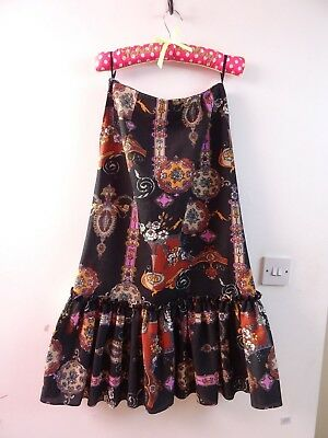VINTAGE long 70s man made fabric floral  MIDI/costume skirt  waist 26 inches S