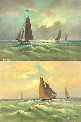 -G. Noone- Fishing Boats Coastal Marine Scene Seascape, Signed Oil On Board Pair