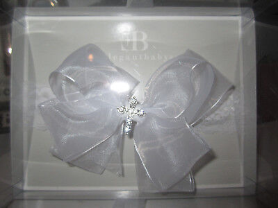 New Infant Christening / Baptism Lace Headband W/sheer White Bow And Bling Cross