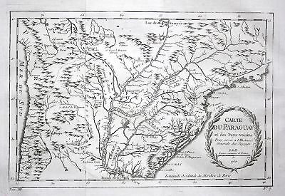 1750 Paraguay Chile Brasil Karte map Argentinia Kupferstich antique print Bellin