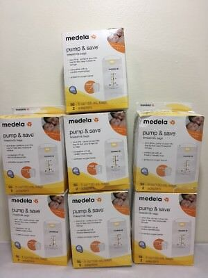 (7) Medela Pump & Save 50ct. Breastmilk Bags 5oz/150ml w/2 Adapators