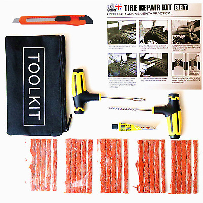 Emergency Car VAN Motorcycle Tubeless Tyre Puncture Repair Tool Kit 25 Strip