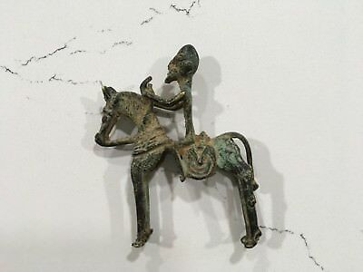 Antique African Early Dogon / Benin ? Bronze Horse and Warrior Rider Rare Statue