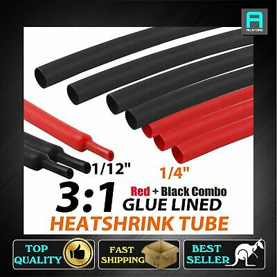 Red + Black Heat Shrink Tube Glue Lined 3:1 Heatshrink Sleeving Cable Waterproof