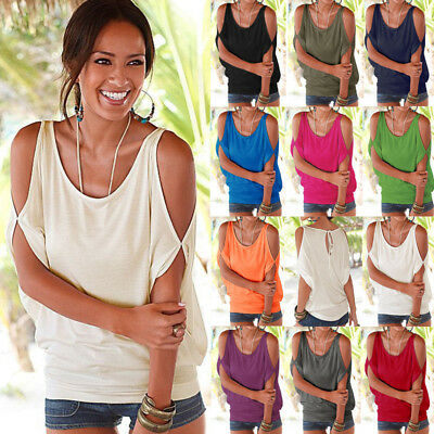 Womens Cold Off Shoulder T-Shirt Ladies Summer Casual Loose Tops Blouse Shirts